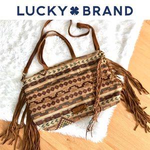 Lucky Brand Fringe Crossbody Tote Tribal Print